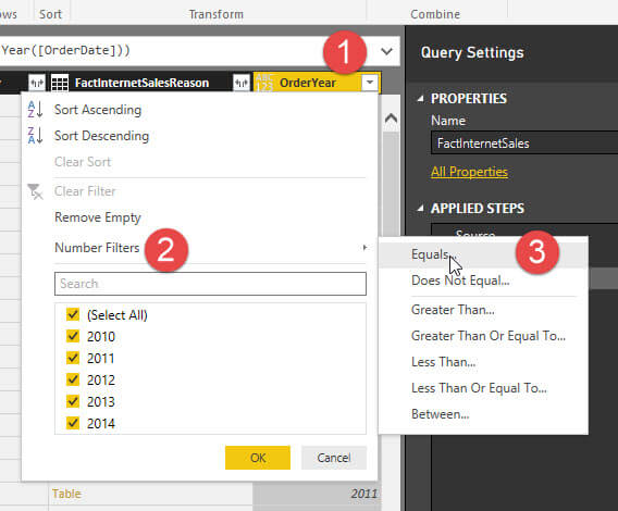 Filter 1 is OrderYear in Power BI