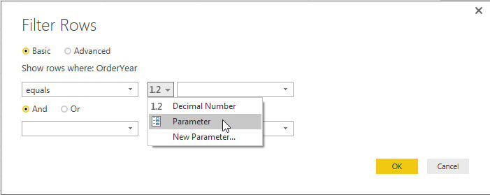 Filter 2 is row filtering for the parameter in Power BI