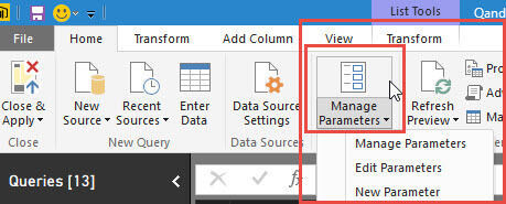 Manage Parameters in Power BI