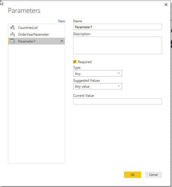 New Parameter setup in Power BI