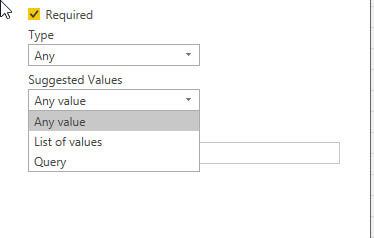 Suggested parameter value in Power BI