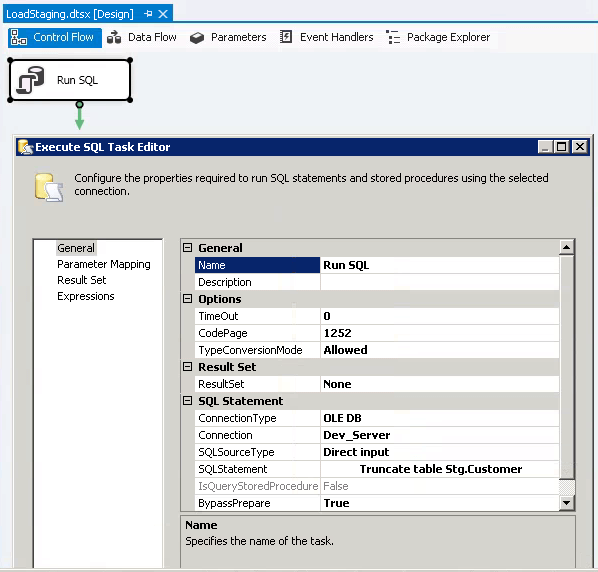 SSIS Execute SQL Task Editor to Truncate the Table