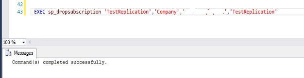 sp_dropsubscription stored procedure
