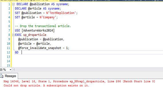 sp_droparticle for SQL Server Transactional Replication
