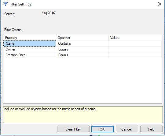 Filtering in the Databases node of SSMS