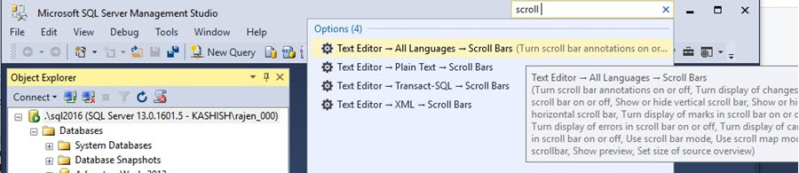 SQL Server Management Studio Quick Launch for Scroll Bar Options