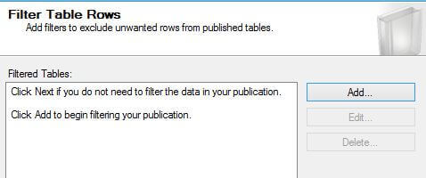 Filter Table Rows in SQL Server Replication