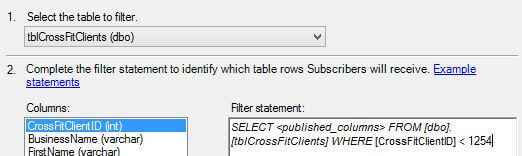 Add the filter to SQL Server Transactional Replication