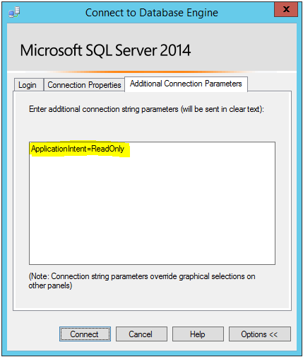 connect to sql server using application intent