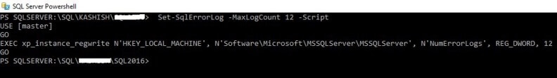 T-SQL code to make the change to the number of SQL Server Error Logs