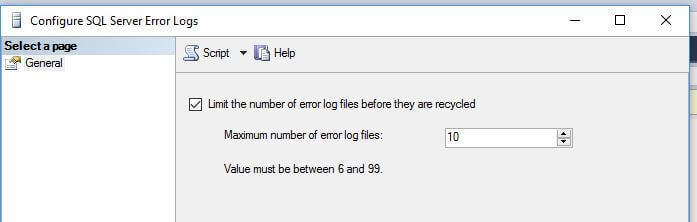 SQL Server error log configuration properties and verify the number of logs
