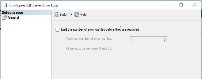 enable and select the number of SQL Server error log files between 6 to 99