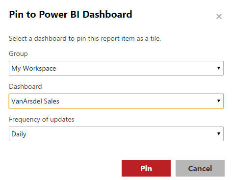 Pin to Power BI dialog in SQL Server 2016 Reporting Services