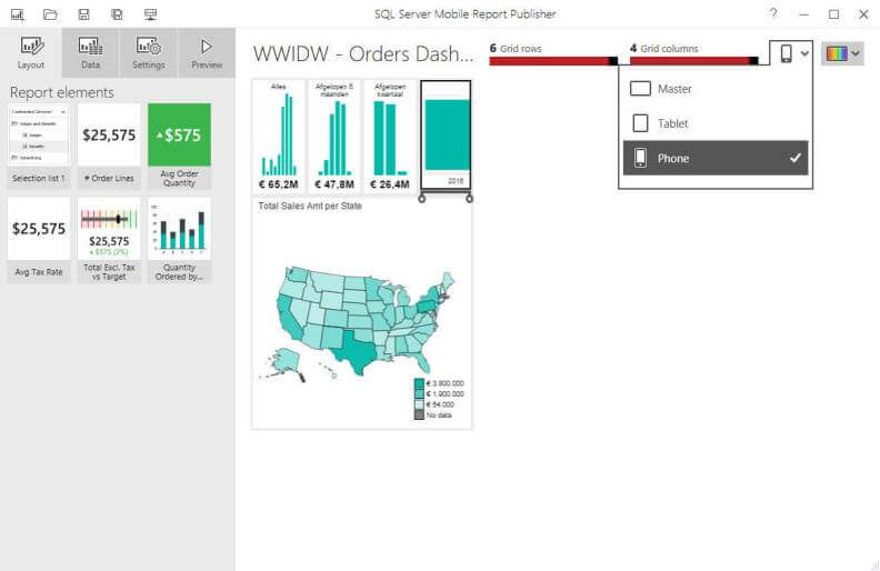 New SQL Server 2016 Reporting Services mobile report canvas
