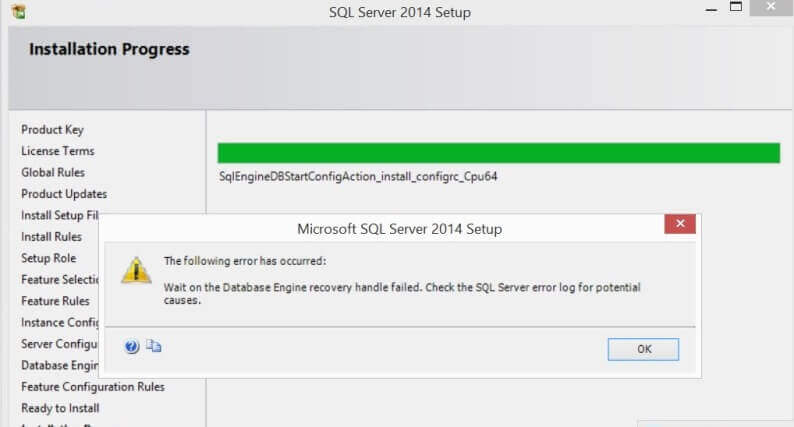 Wait on the Database Engine recovery handle failed.  Check the SQL Server error log for potential causes.