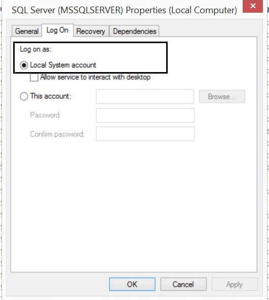 sql server service property to logon as Local System Account