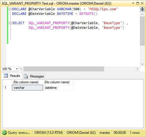 Screen capture of SQL_VARIANT_PROPERTY function test.