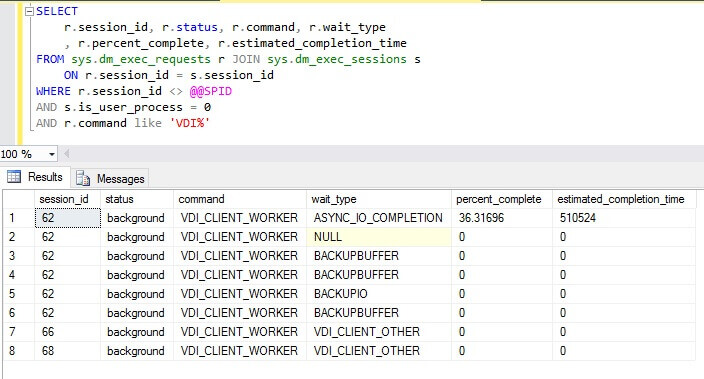 sql server sys.dm_exec_requests and results