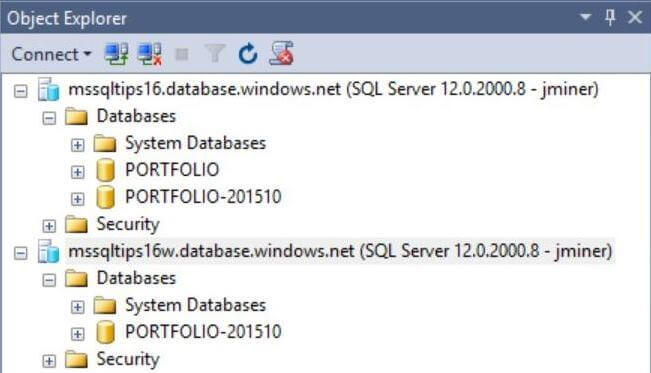 See database in both data centers after the copy