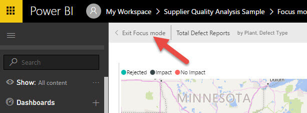 Exit Focus Mode in Power BI