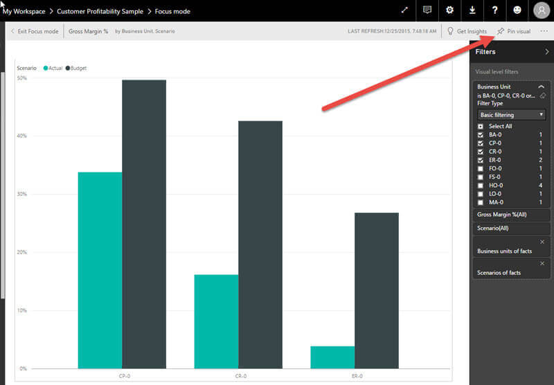 Pin Visual in Power BI