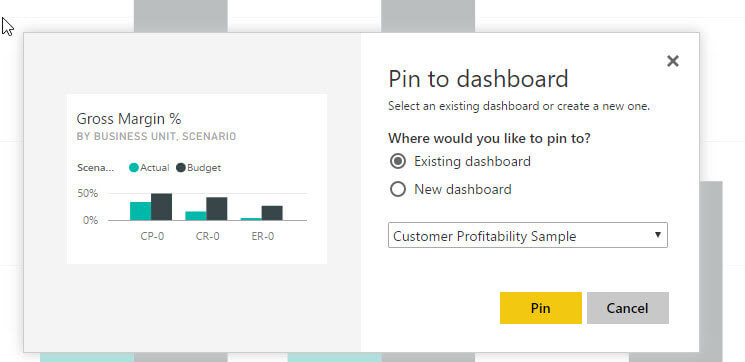 Pin Visual to Dashboard in Power BI