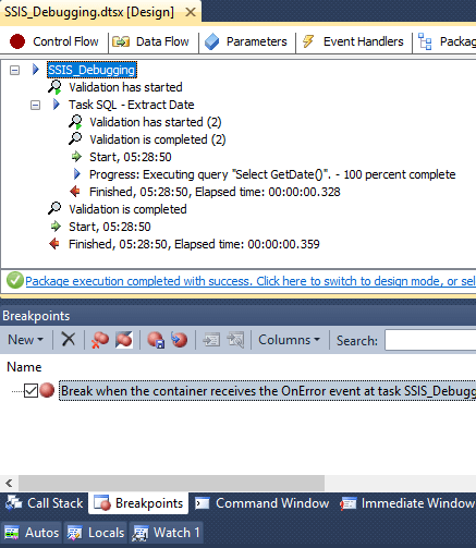 SSIS Package Breakpoints Completion