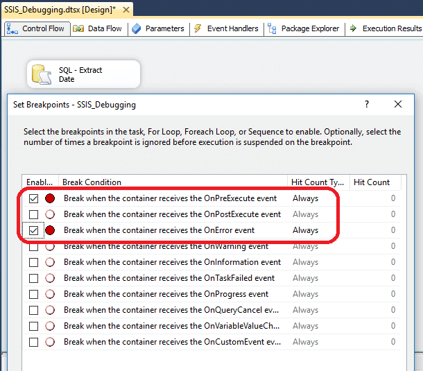 breakpoints have been setup for the package for OnPreExecute and OnError events