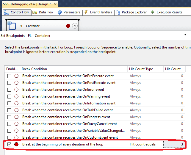 ssis debug breakpoints