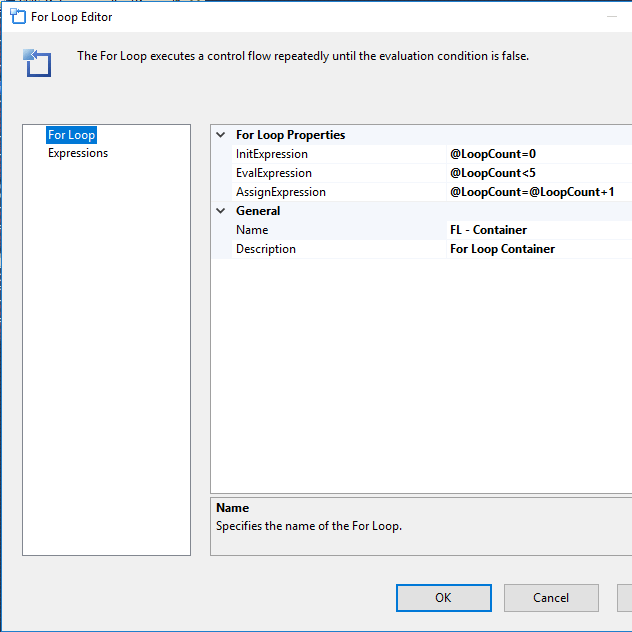 ssis for loop editor