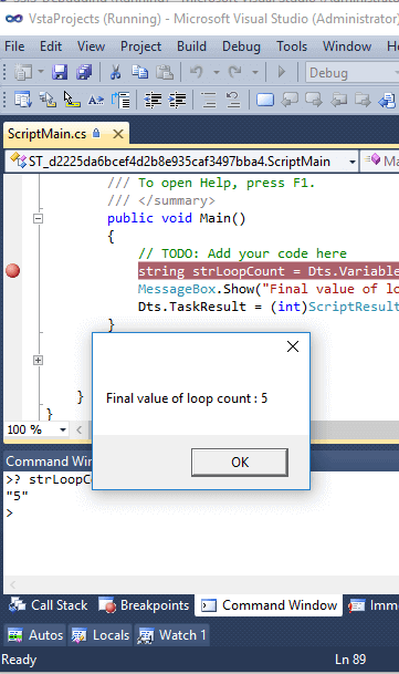 ssis debug for loop count
