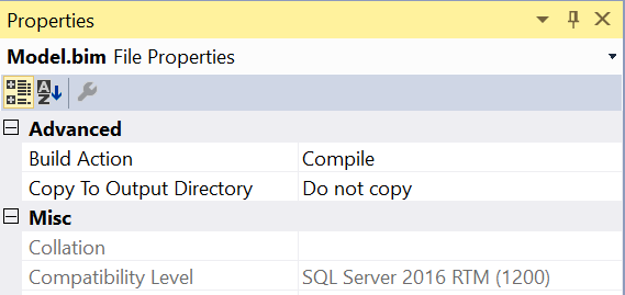 SQL Server Analysis Services Tabular Model Compatibility Level