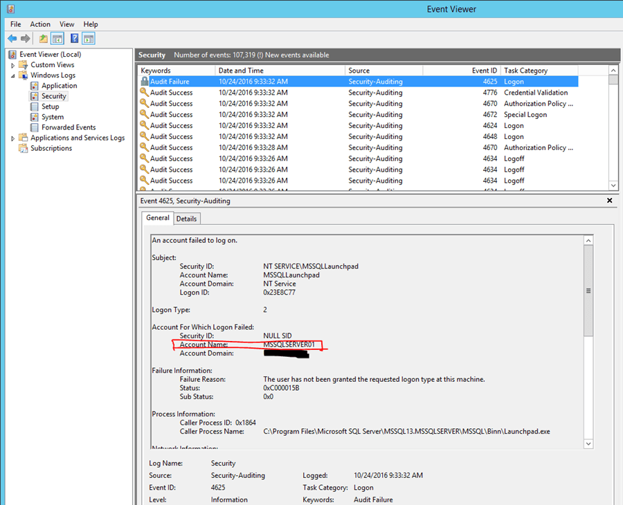 Analyzing the Event Viewer we can see that a Security event ID 4625 has been logged.