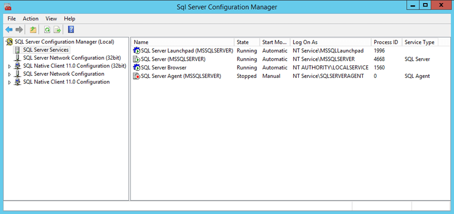 SQL Server Configuration Manager showing the SQL Server Launchpad service is started