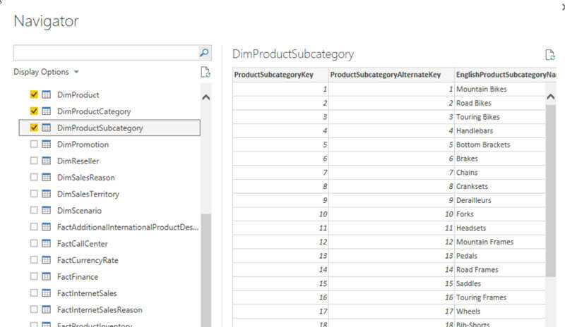 Select Tables in the SQL Server database