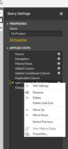 View Native Query is grayed out after the split column apply step is completed