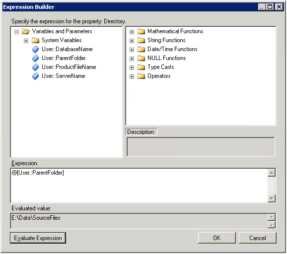 Expression Builder for the SSIS Folder Variable