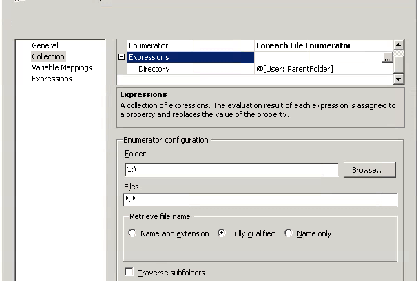 Expression in SSIS for the Directory