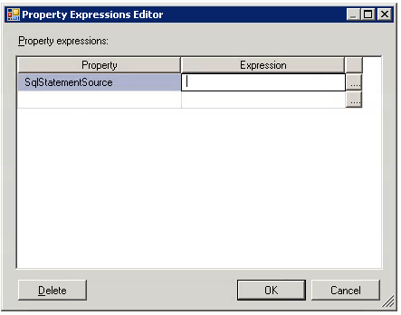 SQL Statement Source in the Property Expressions Editor