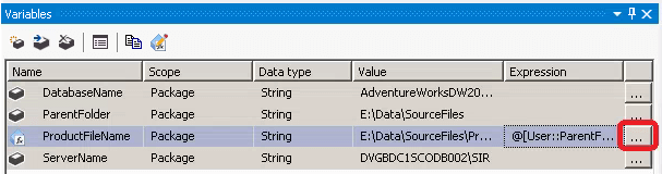 SSIS Expression for Variables