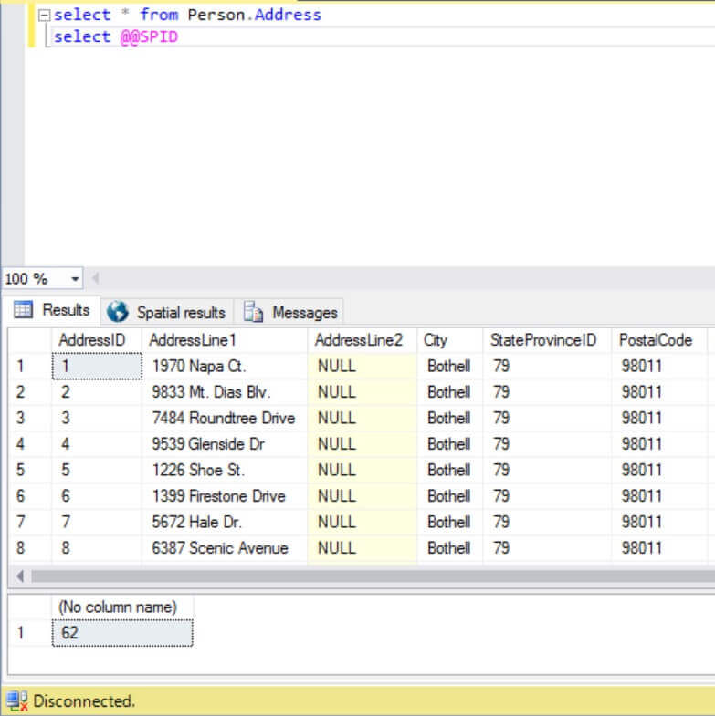 Disconnected Connection shown in SQL Server Management Studio