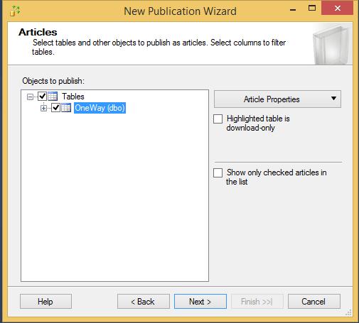 Configure One Way Merge Replication for SQL Server