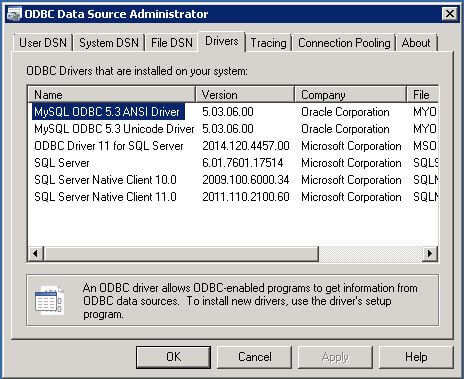 Once the driver has been installed you will see the driver in the ODBC Data Source Administrator.