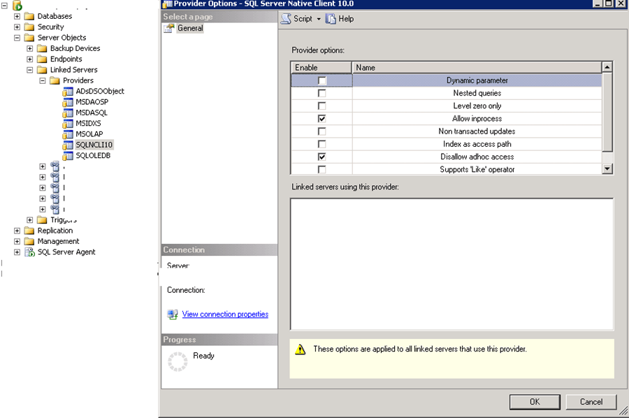 SQL Server Ad Hoc Access to OLE DB Provider Has Been Denied Error