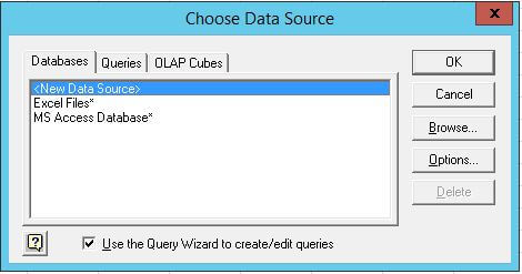 Specify a data source for a database, text file or Excel workbook.