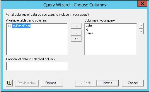 The query wizard helps to create a simple SQL query to retrieve all data from that table