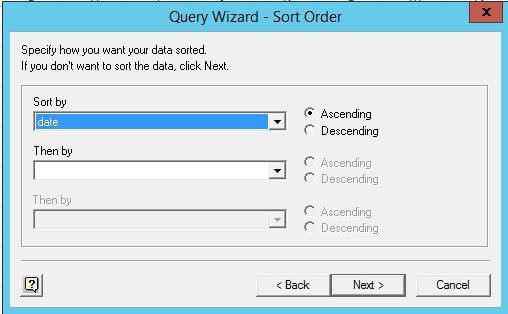 Query Wizard - Sort Order in Microsoft Excel