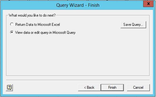 Query Wizard - Finsih interface in Microsoft Excel