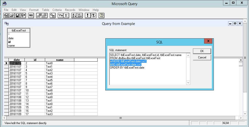 Microsoft Query interface with the query and data