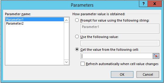 Choose how the parameter value is obtained in Microsoft Excel